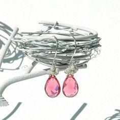 Candy Pink Quartz Dangle Earrings / Sterling Silver / by shopshrew