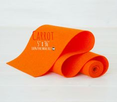 "100% Wool Felt Roll - 5"" x 36"" Wool Felt Roll - Wool Felt Color Carrot -5050 - European Wool Felt - Orange wool felt - Premium wool felt"