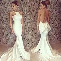 Wish | Women's Bridesmaid White Sexy Full Length Backless Off-shoulder Fishtail Mermaid Formal Evening Dresses Party Gown Wedding Long Maxi Dress D_L