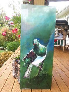 Outdoor Wall Art, Outdoor Walls, Wood Pigeon, Original Art, Original Paintings, Panel Wall Art, Silk Painting, Garden Art, Art Boards