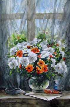 CELAL GÜNAYDIN Türkish Artist Painter Watercolor - suluboya...50x35 cm.
