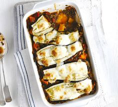 Layered aubergine lentil bake: Puy lentils bulk out this low-calorie vegetarian bake with mozzarella cheese, tomato and basil sauce and roasted eggplants. I used beluga lentils instead (soaked before cooking). Bbc Good Food Recipes, Dinner Recipes, Cooking Recipes, Vegetarian Bake, Vegetarian Recipes, Healthy Recipes, Lentil Recipes, Savoury Recipes, Veg Recipes