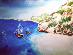 Kaputas Beach  #kaputaş #kaputas #beach #antalya #turkey #whitesand #kaş #kalkan #turquoisewater #watercolor #watercolorpainting #instaart #artwork Turquoise Water, Antalya, Insta Art, Watercolor Paintings, Turkey, Beach, Artwork, Painting Art, Work Of Art