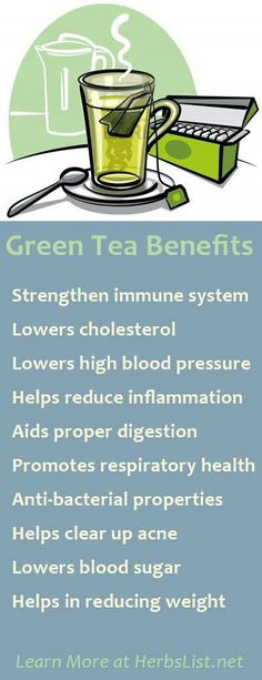 Green Tea Benefits (i keep a 2 gallon container of organic ice green tea in fridge at all times - totally addicting!)