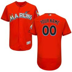 a3661f9e8 Men Miami Marlins Majestic Alternate Fire Red Flex Base Authentic  Collection Custom MLB Jersey