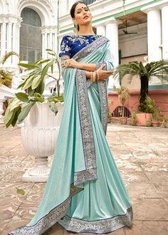 Navyaa Lycra Saree in Sky Blue Net Saree, Georgette Sarees, Silk Sarees, Indian Designer Sarees, Indian Sarees, Wrap Around Skirt, Saree Look, Embroidered Blouse, Saree Wedding
