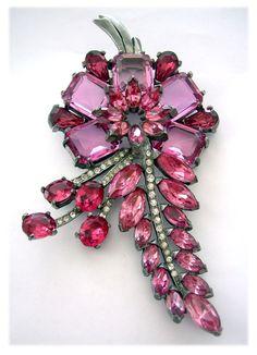 Eisenberg Original Hugh, Spectacular Cerise Pink Floral Spray Dress Clip