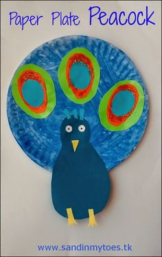 Colourful paper plate peacock craft for kids