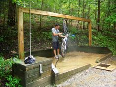 Like this washing station.  Big enough to wash equipment & could be made private with some screens for an outdoor shower.