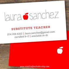 Profesor, sustituto de maestro o Tutor Business Card es la manera perfecta para…