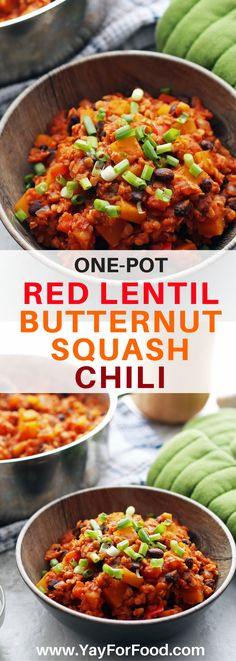 Flavourful and hearty! Try this delicious and healthy one-pot vegan chili featuring red lentils and butternut squash. Perfect for chilly days! vegan | vegetarian | chilli | gluten-free | healthy recipe | fall recipes | winter recipes