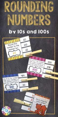 Rounding Numbers 'Clip and Flip' cards contains 72 self-correcting cards to help students practice rounding numbers to the nearest tens and hundreds place. These rounding numbers cards are aligned to Common Core standard 3.NBT.A.1. $ https://www.teacherspayteachers.com/Product/Rounding-2004467
