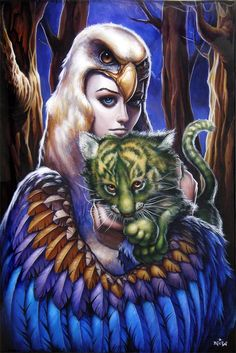 Sorceress and baby Cringer    NC Winters: http://www.geek-art.net/the-geek-art-of-n-c-winters/