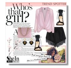 """""""Shein: Black Elastic Lace Shorts"""" by lavenderwine on Polyvore"""