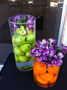 Love using fruit for centerpieces