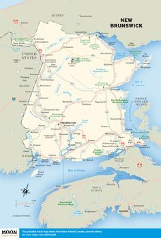 These free, printable travel maps of Atlantic Canada are divided into four provinces including Nova Scotia, New Brunswick, and Prince Edward Island. Saint John New Brunswick, New Brunswick Canada, Road Trip Map, East Coast Road Trip, National Parks Map, Acadia National Park, Annapolis Royal, Newfoundland Canada, Atlantic Canada