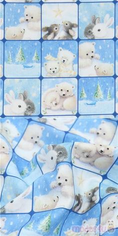 This super cute winter fabric features baby animals such as polar bears and bunnies, who will certainly warm your heart when you gaze upon them! This lovely fabric is perfect for the Christmas season and features these images in square shapes which you can cut out for patchwork projects, place onto panels etc. #Cotton #Animals #AnimalPrint #Squares #Christmas #Bears #Pandas #Rabbits #USAFabrics