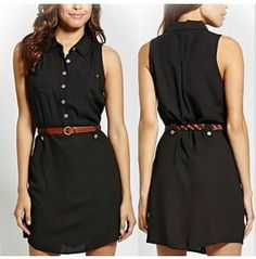 Casual Sleeveless Front Buttons Belted Black Short Dress