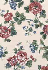 Floral Large Blossom Pink Burgundy Blue Rose Flower Fruit Vintage Wall Wallpaper