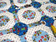 Work Truck Traffic a handmade baby quilt for boys designed by The Baby Quilt Lady http://uniquebabyquiltboutique.com/