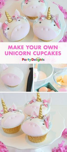 Looking for unique unicorn party ideas? Have a go at making these easy unicorn cupcakes. They'll look absolutely adorable at your birthday party and they're almost too good to eat!
