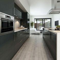 Dark Grey Kitchen Cabinets – New Kitchen Ideas Collection Dark Grey Kitchen Cabinets, Modern Grey Kitchen, Light Grey Kitchens, Kitchen Cabinets Pictures, Grey Kitchen Designs, Modern Kitchen Design, Kitchen Cabinetry, Gray Cabinets, Modern Kitchens