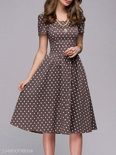 Boat Neck Polka Dot Skater Dress , formal dresses maxi dresses womens dresses summer dresses party dresses long dresses casual dresses dresses for wedding , # Cheap Skater Dresses, Modest Dresses, Pretty Dresses, Casual Dresses, Dresses For Work, Maxi Dresses, Elegant Dresses, Summer Dresses, Formal Dresses