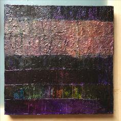 "Lynda Bleyberg. Night Strata. Mixed media on box canvas. 16"" by 16"" For Sale £350. info@lyndableybergart.co.uk"