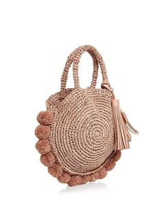 Loeffler Randall Straw Circle Tote Handbags – Bloomingdale's Crochet Handbags, Crochet Purses, Crochet Bags, Tote Handbags, Purses And Handbags, Crochet Shell Stitch, Round Bag, Macrame Bag, Diy Purse
