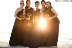 Wedding party, girls. Navy, one shoulder dress. Sunset!