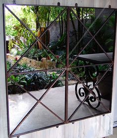 Double cross outdoor mirror   Garden mirror