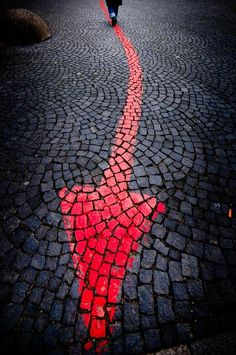a touch of red - arrow on the cobbles Graffiti, Red Color, Color Pop, Street Art, I See Red, Red Arrow, Wow Art, Color Of Life, Shades Of Red