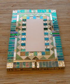 Light Blue Jewel tone Iridized Glass Mirror 1 by AppalachianVilla, $65.00