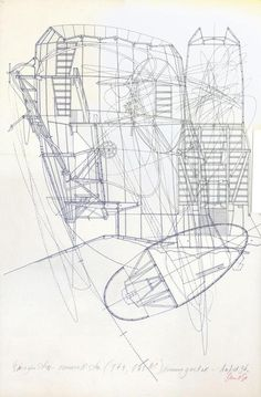 Composite plan, section and elevation by Lebbeus Woods. note the use of both line weight (to delineate between structure, superstructure, and membrane) and line type (to show movement within the space and connections between the each drawing) Cad Drawing, Line Drawing, Drawing Sketches, Lebbeus Woods, Architecture Graphics, Architecture Drawings, Kinetic Architecture, Classical Architecture, Landscape Architecture