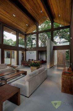 Casa de Campo Quinta do Lago - Tarauata: Salas de estar campestres por Olaa Arquitetos #casasdecampomodernas