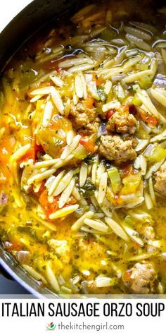 Orzo Sausage Soup for Instant Pot or Stove Italian soup in. - Best Food -Italian Orzo Sausage Soup for Instant Pot or Stove Italian soup in. Best Soup Recipes, Healthy Recipes, Orzo Recipes, Crock Pot Soup Recipes, Pork Sausage Recipes, Recipes With Chicken Broth, Seafood Recipes, Ground Italian Sausage Recipes, Instapot Soup Recipes