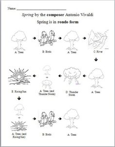 Spring by Antonio Vivaldi/rondo form activity and worksheet Preschool Music, Music Activities, Teaching Music, Music Lesson Plans, Music Lessons, Vivaldi Spring, Seasons Lessons, Middle School Music, Music Worksheets