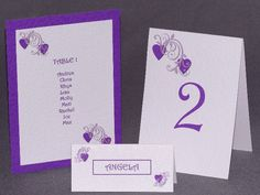 Table Number, Place Name Card and part of a Table Plan in Hearts design in a Cadbury's Purple. https://www.profiletree.com/tina-harknett  #wedding, #stationery, #plans, #cards, #invitations