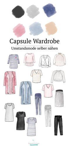 Umstandsmode selber nähen. Mit einer Capsule-Wardrobe durch den Frühling Capsule Wardrobe, Sewing Tutorials, Sewing Projects, Slow Fashion, Breastfeeding, Baby, Fitness, How To Wear, Nadja