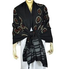 Indian Dress Tie Dye Scarf Shawl Clothes for Women Fashion Clothes 35 X 80 Inches ShalinIndia. $56.38. Tie dye shawl made of pure wool fabric in tribal style. 100% wool. Size: 80 inches x 35 inches. (tdswl462). Created by handloom weavers of Kutch region of Gujarat in India. Dry clean only.. All purpose, formal, casual and evening wear.. Dry Clean Only