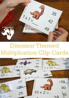 Enjoy this FREE Set of Dinosaur themed multiplication clip cards.  What you will find in these printables:   11 pages of printables  4 card