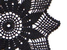Black Crochet Doily Vintage hand dyed Doily #katrinshine #etsy #doily #black #crochet #vintage