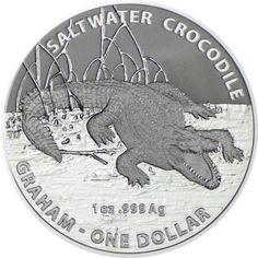 "1 Dollar Silber Salzwasser Krokodil ""Graham"" UN"