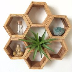 Super Genius Useful Tips: Carved Scroll Wall Decor Teal coffee and tea wall decor.Shalom Wall Decor diy room wall decor for teens.Touch Of Class Outdoor Wall Decor. Honeycomb Shelves, Hexagon Shelves, Wooden Shelf Design, Wooden Shelves, Room Shelves, Diy Home Crafts, Craft Stick Crafts, Popsicle Stick Crafts For Adults, Popsicle Sticks