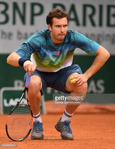 Ernests Gulbis of Latvia looks on during the Men's Singles first round match against Andreas Seppi of Italy on day three of the 2016 French Open at Roland Garros on May 2016 in Paris, France. Get premium, high resolution news photos at Getty Images French Open, The Man, That Look, Sporty, Day, Image