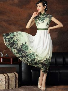 Floral Tea-length Chiffon Cheongsam / Qipao Dress