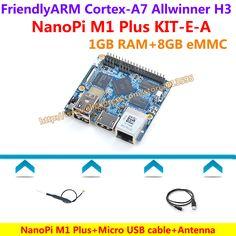 Allwinner H3 Quad-core Cortex-A7 NanoPi M1 Plus Demo Board (1GB RAM,8GB eMMC)+MicroUSB Cable+Antenna=NanoPi M1 Plus KIT-E-A