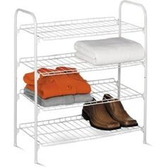 Honey Can Do 4Tier Wire Shoe and Accessory ShelfCloset Shelves White ** Visit the image link more details.