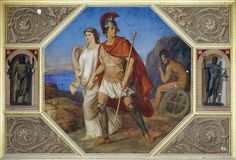Pelops and Hippodamia after winning the chariot race. August Theodor Kaselowsky. German. 1810-1891. mural. Neues Museum. Berlin.    http://hadrian6.tumblr.com