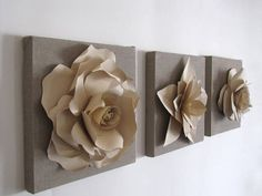 set of three canvas frames with paper flowers by AgaveBianca, €38.00